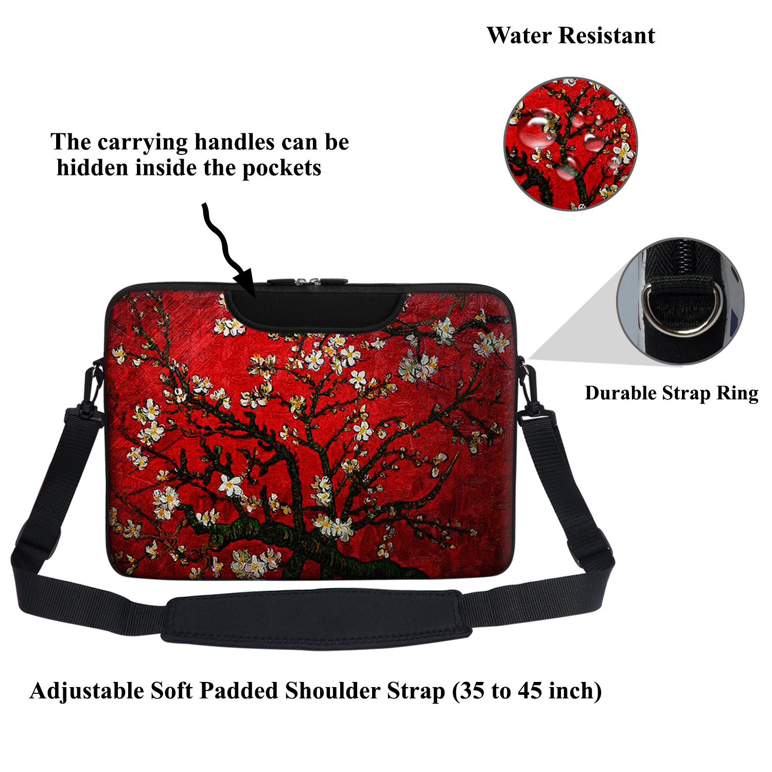 "15/"" Laptop Computer Sleeve Bag with 2 Top Pockets /& Shoulder Strap Handle 2721"